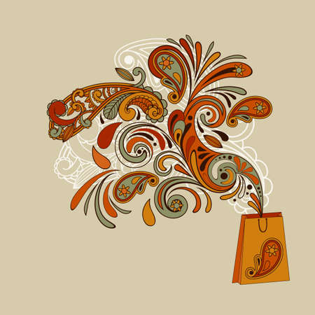 vector shopping concept with a shopping bag and floral swirl paisley elements flying from it  paisley elements