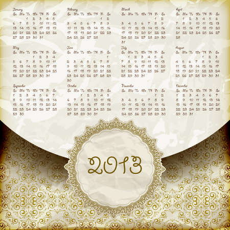 vector retro style 2013 calendar,crumpled golden foil  paper texture Stock Vector - 14857209