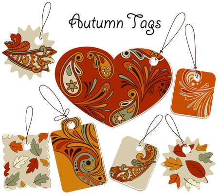autumn tags with floral patterns, can be used separately  Vector