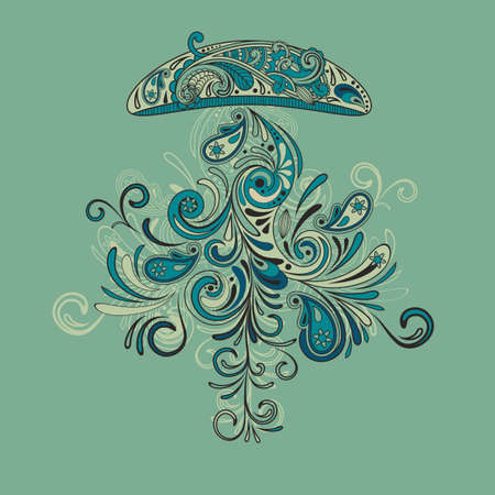 fantasy medusa with swirly tentacle, fully editable  file Vector