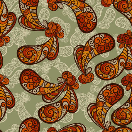 seamless paisley  pattern with grungy blots and crumpled paper texture, fully editable  file pattern in swatch menu Vector