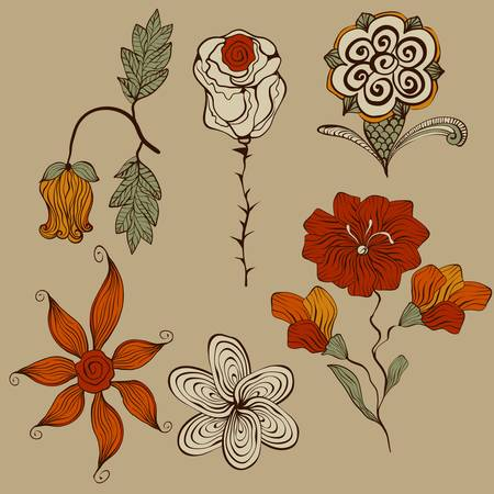 floral bizarre design elements, filly editable file, elements can be used separately and combined, easy to change colors Vector