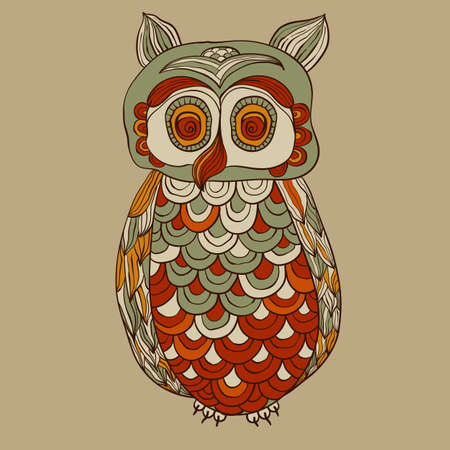 bizarre funky owl with detailed feathers, fully editable file Vector