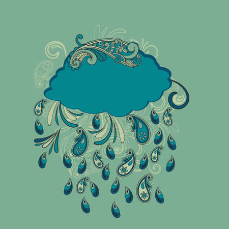 downpour: blue cloud with paisley rain, fully editable  file Illustration