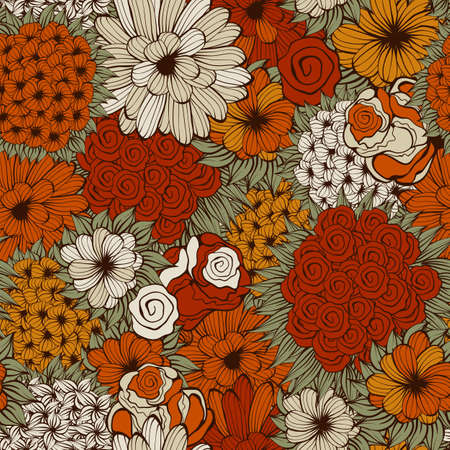 orange roses: seamless pattern with funky flowers
