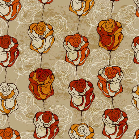 orange rose: seamless  pattern with funky roses