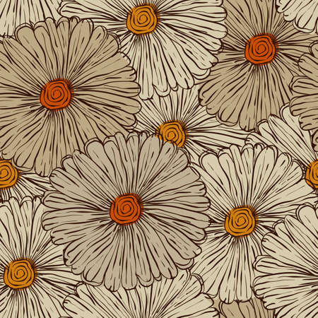 Seamless Pattern with Abstract Flowers Illustration