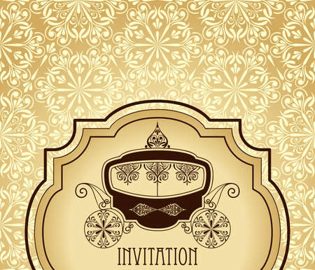 wedding invitation card with antique carriage in the frame  on  floral seamless  pattern Vector