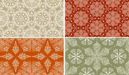 set of 4  Seamless Winter Patterns with Snowflakes   Vector