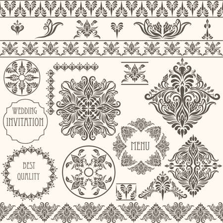 vector vintage design elements, retro seamless  brushes included Vector