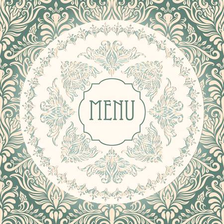 serviette: vector vintage menu template with lacy napkin and floral seamless pattern at the background Illustration
