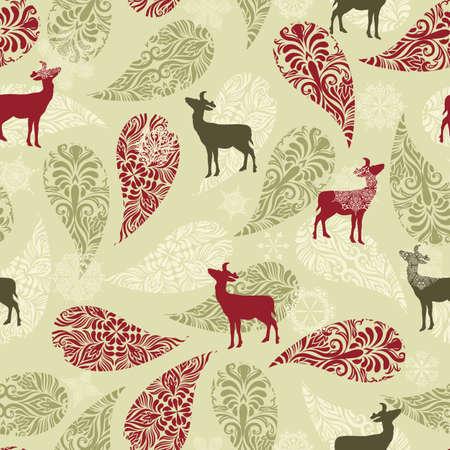 deers: Vector patr�n de invierno perfecta con decoraci�n de navidad, ciervos, y los copos de nieve