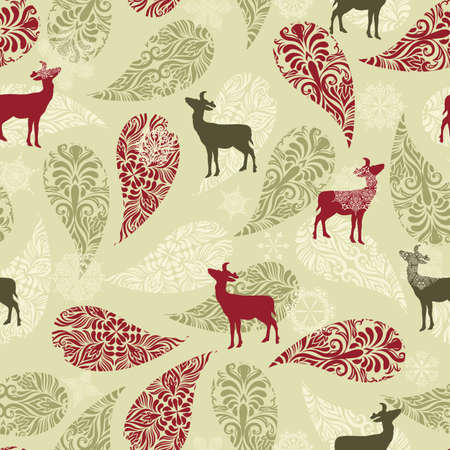 Vector winter seamless pattern with christmas decoration, deers, and snowflakes Illusztráció