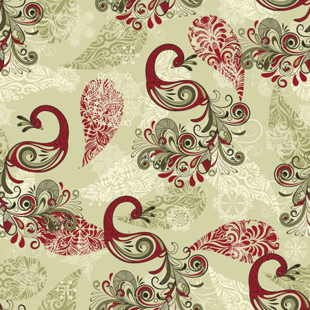 vector seamless winter pattern with stylized peacocks and snowflakes
