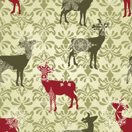 vector Christmas  seamless vintage wallpaper pattern with falling snowflakes and deers
