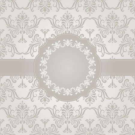 vector seamless vintage wallpaper pattern on gradient background and frame for your text Vector
