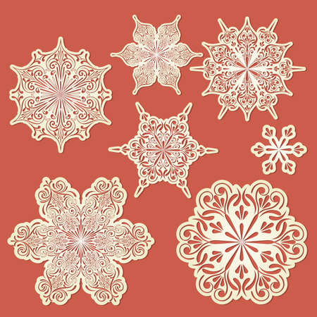 vector paper cut golden snowflakes Vector