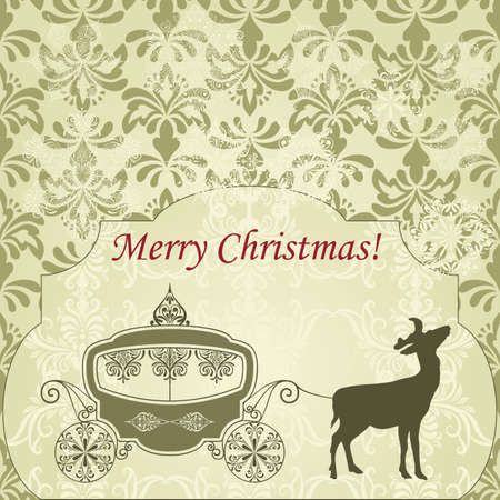 vector Christmas  Greeting Card with Deer and Vintage Carriage, seamless patterns included in swatch menu Vector