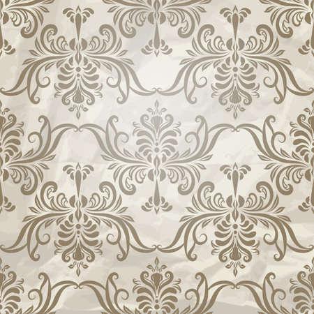 pattern: vector naadloze vintage behang patroon op verfrommeld papier textuur