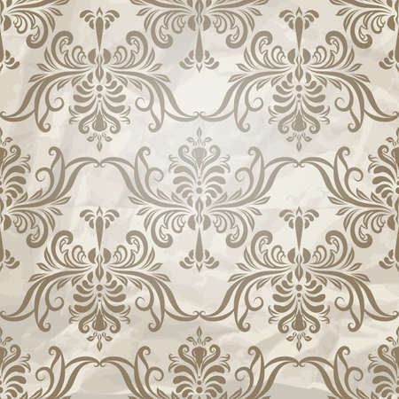 pattern vintage: vector seamless vintage wallpaper pattern on crumpled paper texture