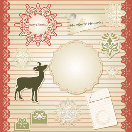 vector christmas scrapbook design template, seamless lacy brushes included Stock Vector - 15683870