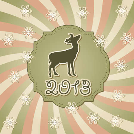 vector new year greeting card with deer Vector