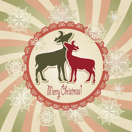 vector christmas scrapbook greeting card with deers and snowflakes Vector