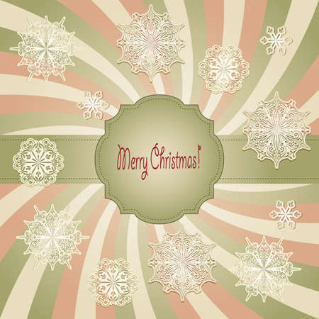 vector christmas  greeting card with  snowflakes, retro style, fully editable eps 10 file with transparency effects, standart AI font Vector