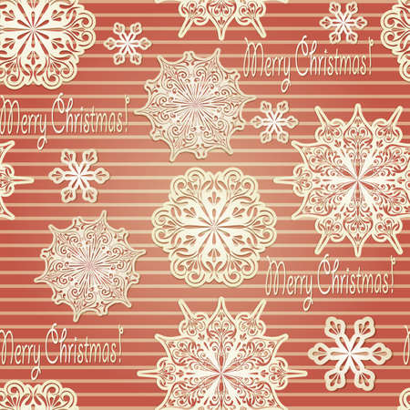 Vector Seamless Background with paper cut snowflakes and &quot,merry christmas!&quot, greetings Vector