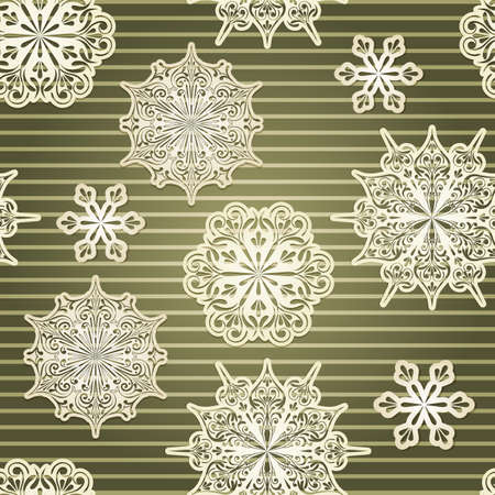 Vector Seamless Background with paper cut snowflakes Vector
