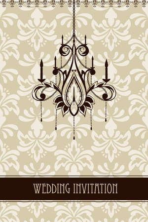 invitación de la boda del vintage con el ornamento floral sin fisuras y la araña