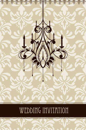 vintage wedding invitation with seamless floral ornament and chandelier Vector