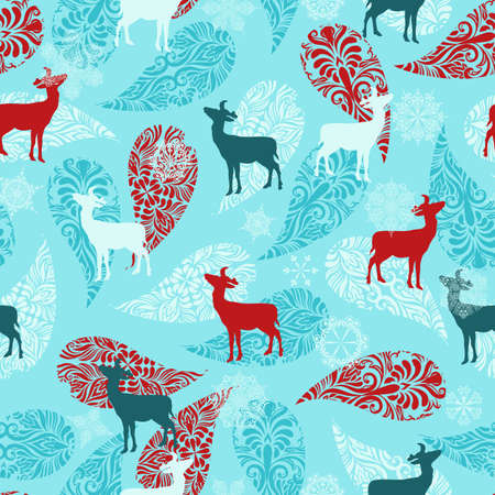 snow crystals: winter seamless pattern with christmas decoration, deers, and snowflakes