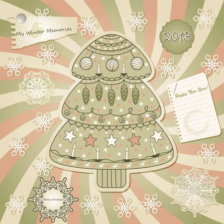 greeting card with fir tree, scrabook style Vector