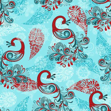 pluma de pavo real: patrón de invierno sin fisuras con los copos de nieve estilizados y pavos reales