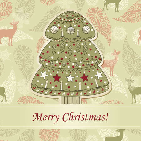 greeting card with fir tre on seamless Vector