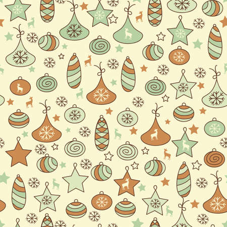 seamless Christmas pattern with fir tree toys Vector