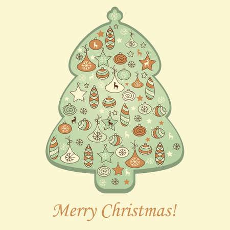vector greeting card: vector greeting card with fir tree