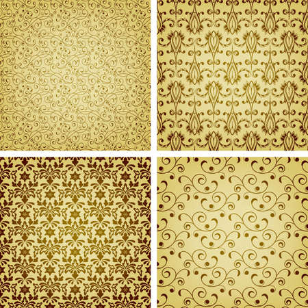 seamless golden patterns, oriental style Vector