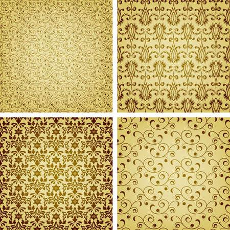 seamless golden patterns, oriental style Stock Vector - 15825918
