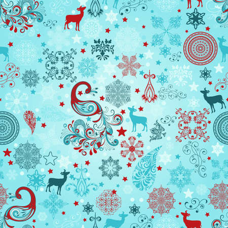 seamless winter pattern with stylized peacocks, deers, stars, and snowflakes Vector