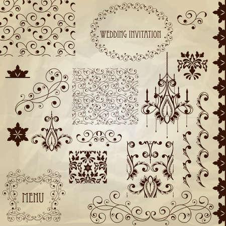 vintage design elements on crumpled paper texture  Çizim
