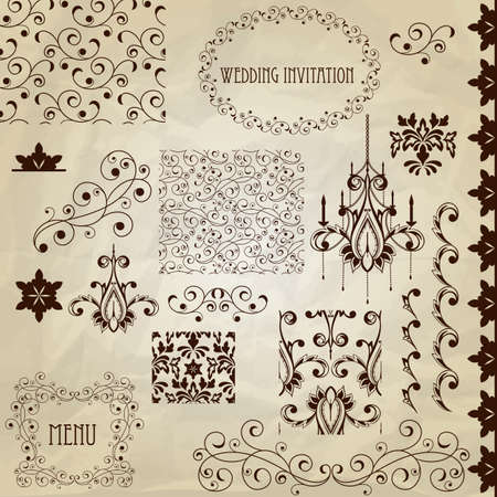 vintage design elements on crumpled paper texture  Illustration