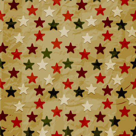 seamless christmas  retro pattern on crumpled paper texture Vector
