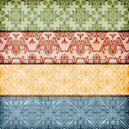 vector seamless floral borders on  crumpled paper texture, seamless patterns included in swatch menu Çizim