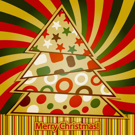 Vector Retro Christmas Greeting Card with abstract  fir tree and  merry christmas  greetins Vector