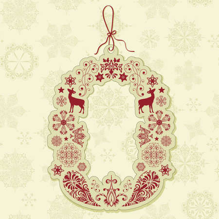 vector christmas sale tag on seamless winter pattern with  snowflakes Vector