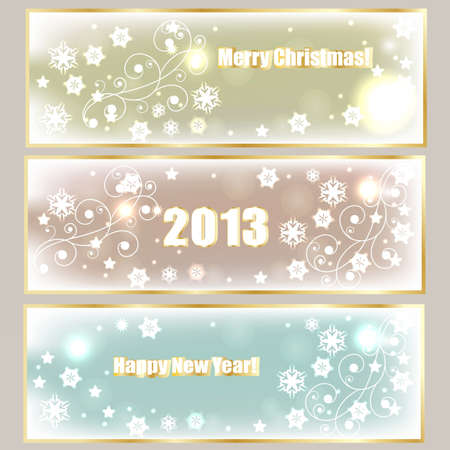 nappy new year: vector winter holiday banners withgreetings,  shiny stars, and snowflakes