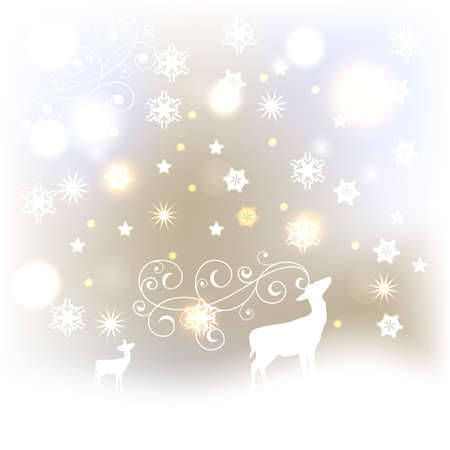 vector winter background with  deers, shiny stars, and snowflakes Vector