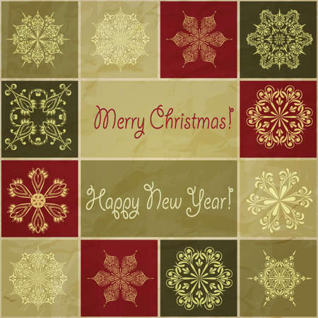 vector seamless christmas winter pattern with  snowflakes,  Happy new year  and  Merry christmas  greetings on crumpled paper texture Stock Vector - 15914463